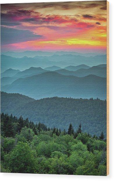Blue Ridge Parkway Sunset - The Great Blue Yonder Wood Print