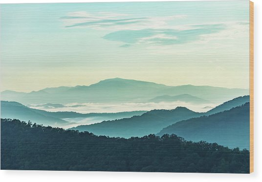 Blue Ridge Pastel Wood Print