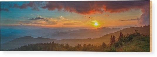 Blue Ridge Sunset Pano Wood Print