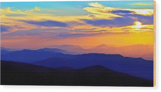 Blue Ridge Sunset, Virginia Wood Print