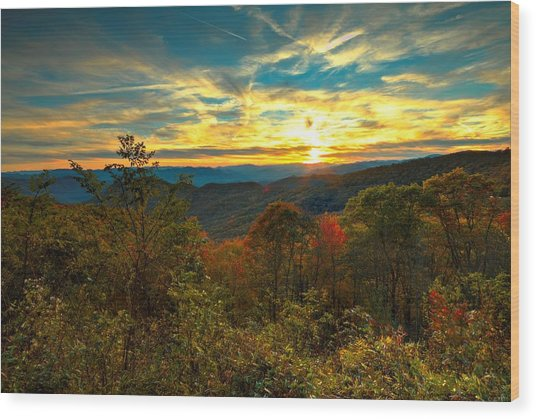 Blue Ridge Sunsets Wood Print