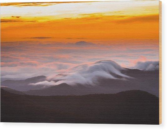 Blue Ridge Valley Of Clouds Wood Print