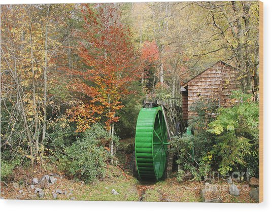 Blue Ridge Waterwheel Wood Print by Stan and Anne Foster