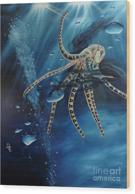 Blue Ring Octopus Wood Print