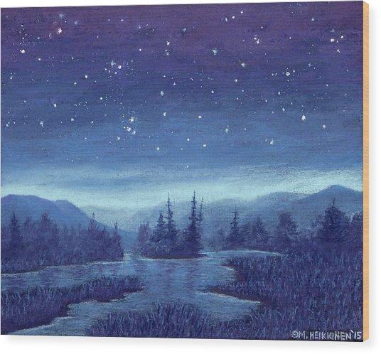 Blue River 01 Wood Print