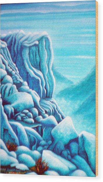 Blue Rocks Wood Print by Barbara Stirrup