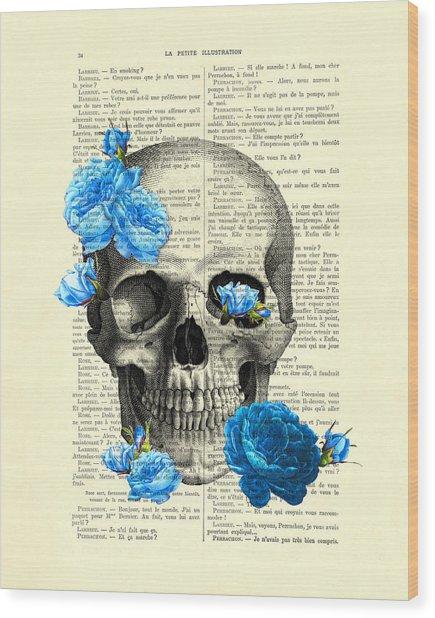 Blue Roses With Skull Art Print Wood Print