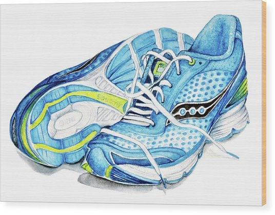 Blue Running Shoes Wood Print