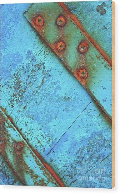 Blue Rusty Boat Detail Wood Print