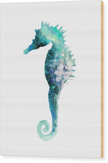 Blue Seahorse Watercolor Poster Wood Print