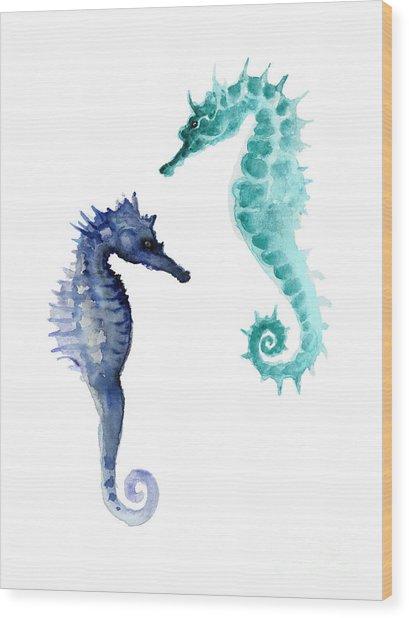 Blue Seahorses Watercolor Painting Wood Print