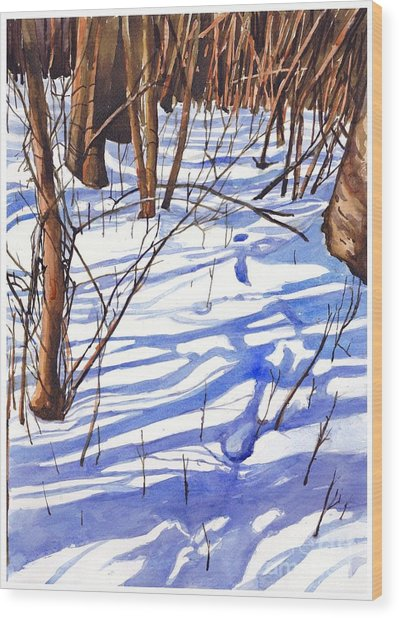 Blue Shadows Wood Print