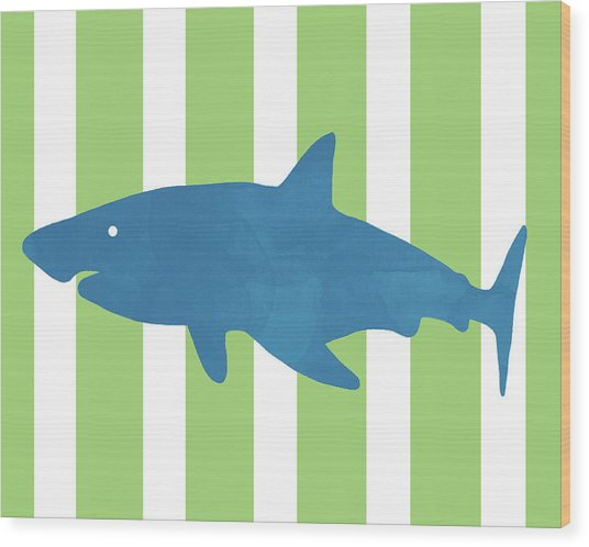 Blue Shark 1- Art By Linda Woods Wood Print