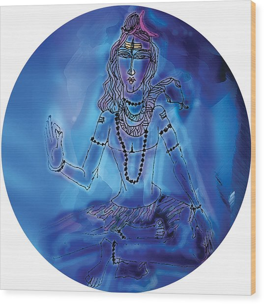 Blue Shiva  Wood Print