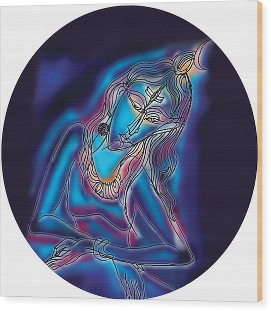 Blue Shiva Light Wood Print