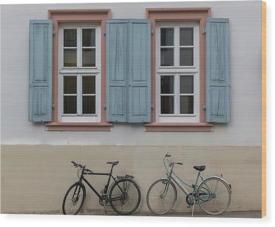 Blue Shutters And Bicycles Wood Print