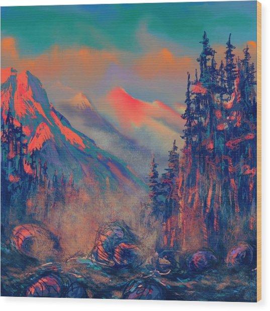 Blue Silence Wood Print