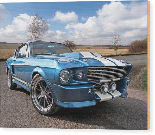 Blue Skies Cruising - 1967 Eleanor Mustang Wood Print