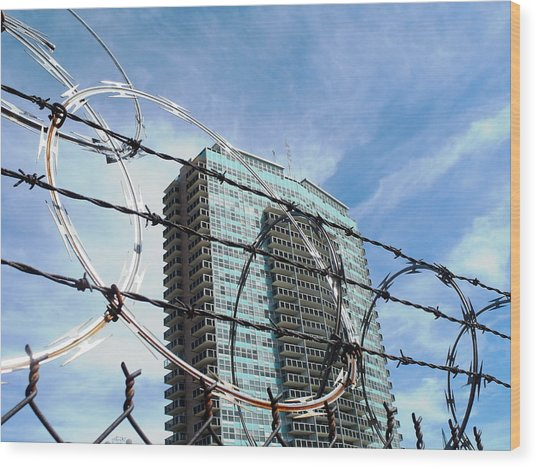 Blue Sky And Barbed Wire Wood Print