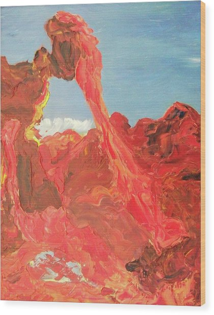 Blue Sky And Orange Rocks Wood Print by Suzanne  Marie Leclair
