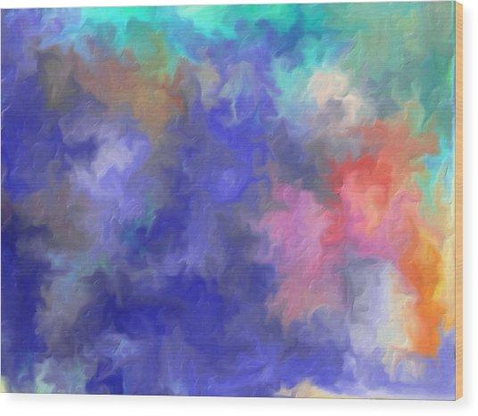 Blue Sky Painting Wood Print