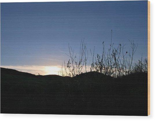 Blue Sky Silhouette Landscape Wood Print