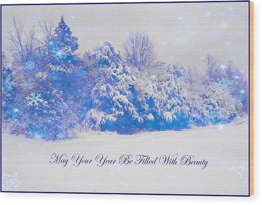 Blue Snowy Christmas Scene Wood Print by Angela Comperry