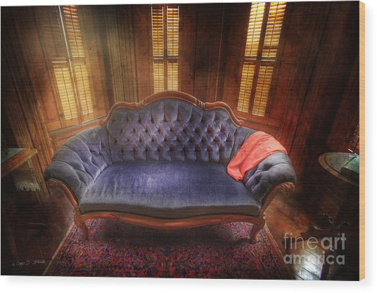 Blue Sofa Den Wood Print