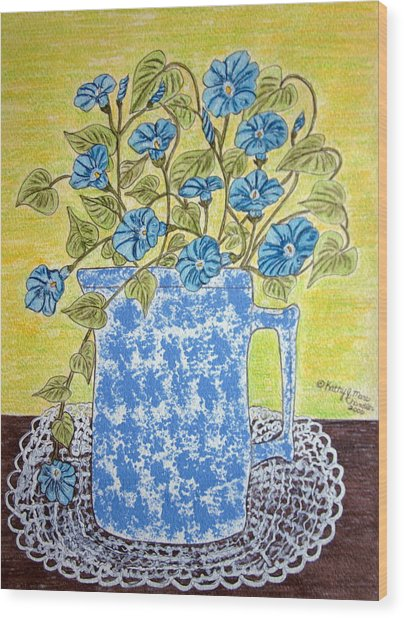 Blue Spongeware Pitcher Morning Glories Wood Print