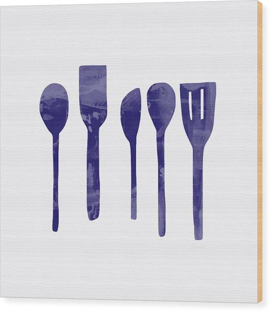 Blue Spoons- Art By Linda Woods Wood Print