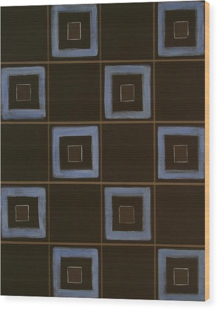 Blue Squares Wood Print by Sandy Bostelman