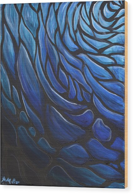 Blue Stained Glass Wood Print