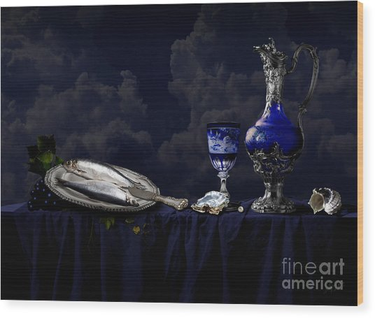 Still Life In Blue Wood Print