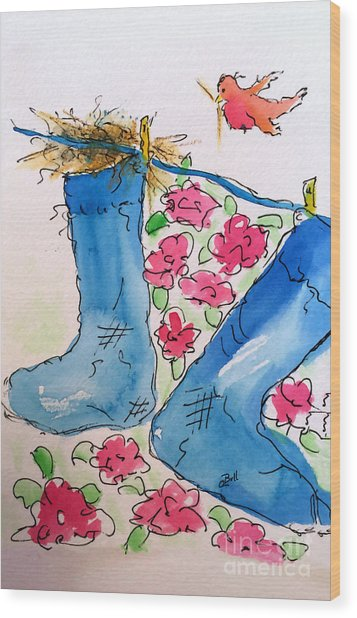 Blue Stockings Wood Print