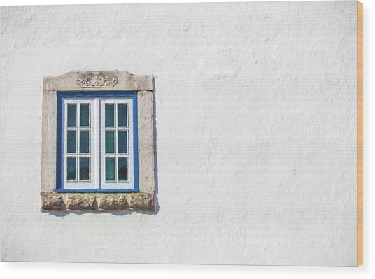 Blue Stone Window Of Obidos Wood Print