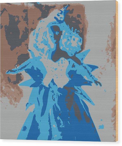 Blue Sunflower Barbie Wood Print