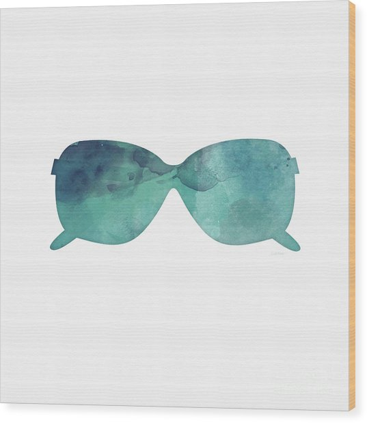 Blue Sunglasses 1- Art By Linda Woods Wood Print