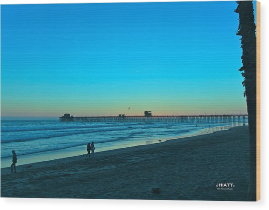 Blue Sunset Wood Print