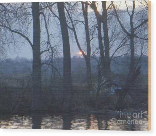 Blue Sunset On Fox River Wood Print by Deborah Finley