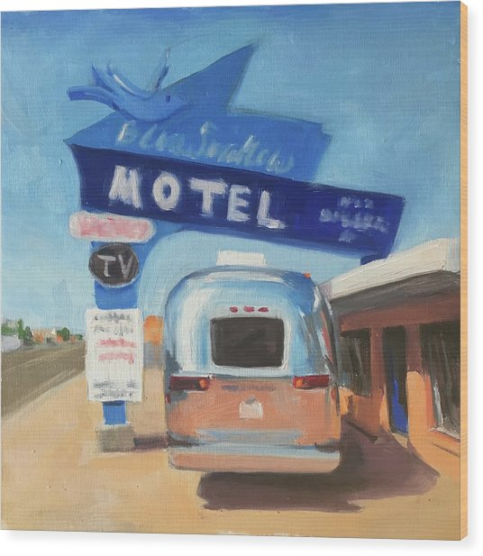 Blue Swallow Motel Wood Print