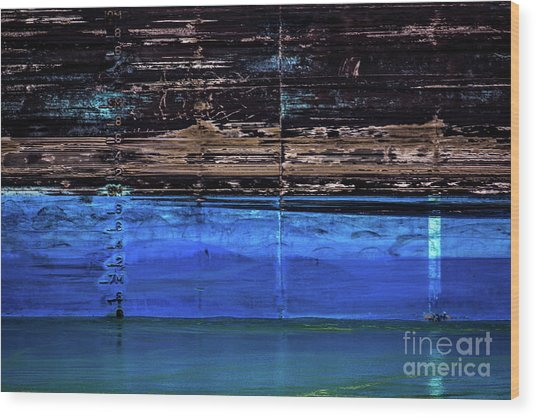Blue Tanker Wood Print