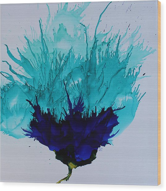 Blue Thistle Wood Print