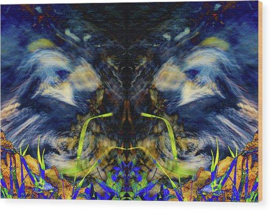 Blue Tigers Devil Wood Print