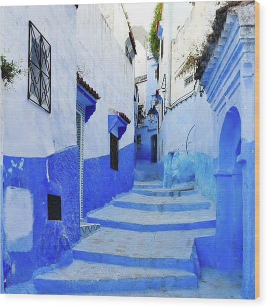 Blue Town(morocco) #mytravelgram Wood Print by Seiji Hori