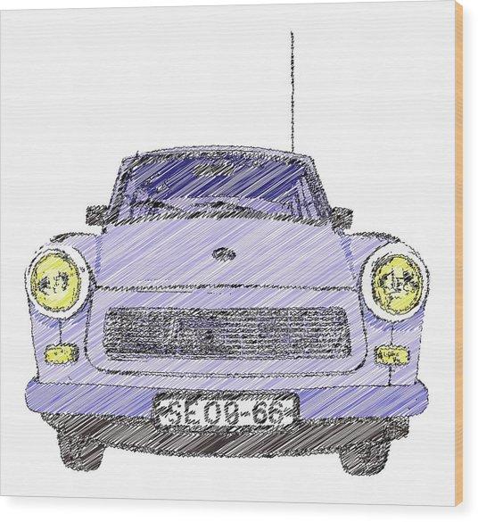 Blue Trabant Wood Print