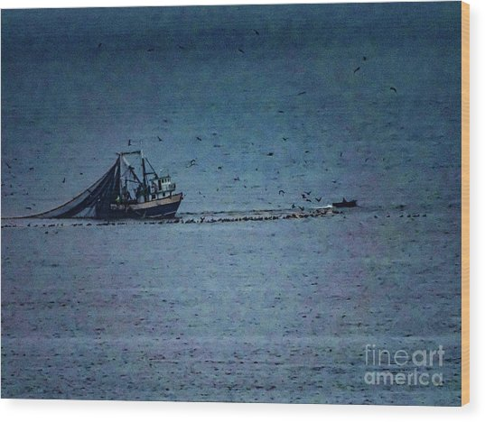 Blue Trawler 1 Wood Print