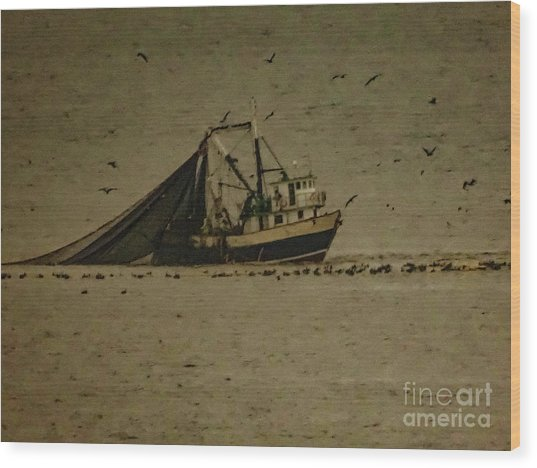 Blue Trawler 2 Wood Print