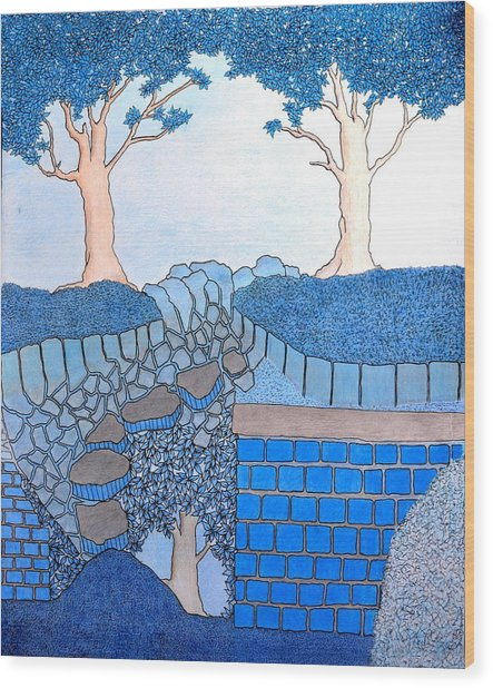 Blue Trees Wood Print