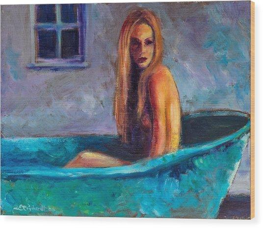 Blue Tub Study Wood Print
