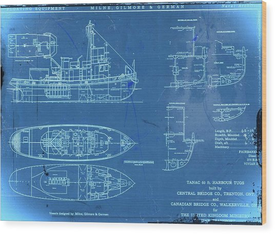 Blue Tugboat Blueprints Wood Print